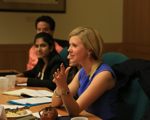 Students during a session with Nate Fick '99.