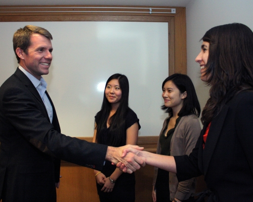 Nate Fick '99 with Rockefeller Leadership Fellows.