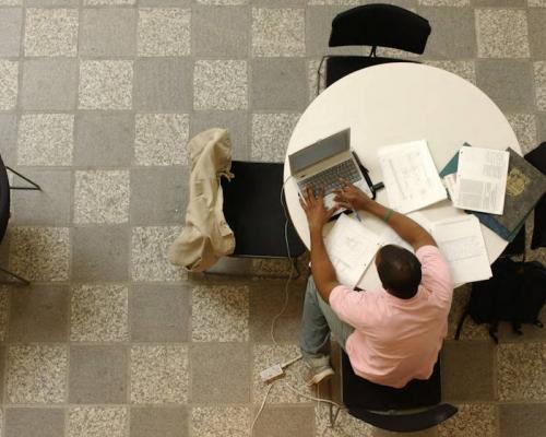 Student studying in Rockefeller Center