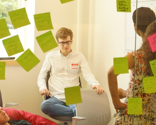 Student brainstorming at The Startup Experience at Dartmouth College