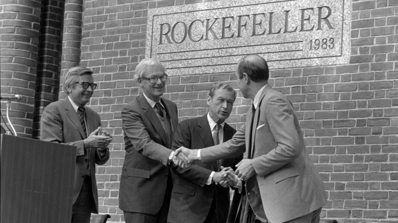 The dedication ceremony of Rockefeller Center.