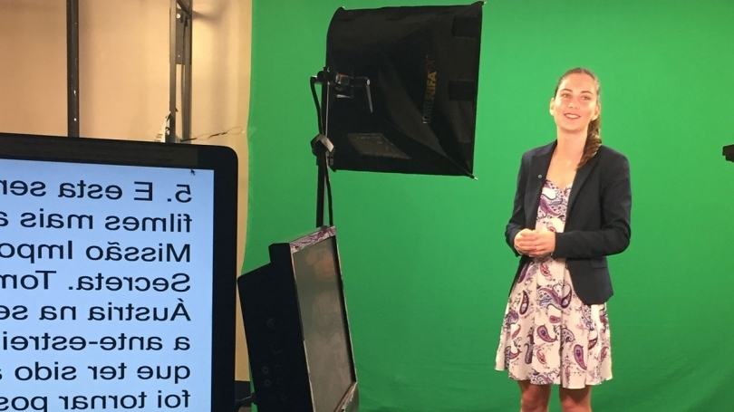 First-Year Fellow Julia DeCerega '18 about to go on-air during her Fellowship at Voice of America in Washington, D.C.