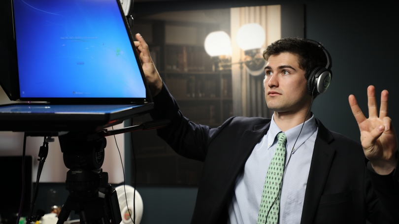 Henry Goodwyn '19 assisting in the House GOP Studio while a Member of Congress films a clip to send to their constituency.