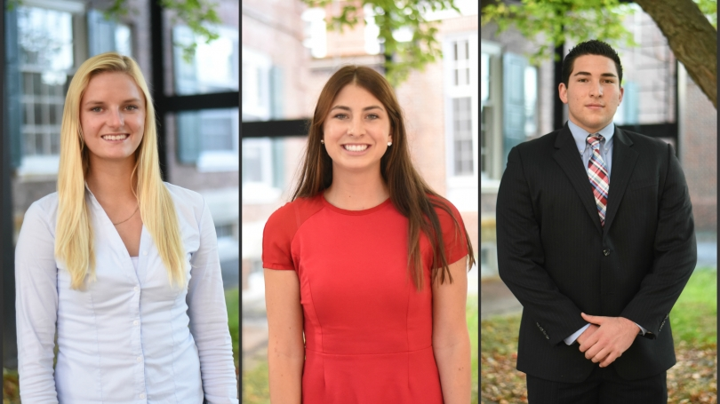 RBEL Student Program Assistants Claire Alcus '18, Katie Flattum '18, and Julian Marcu '18.