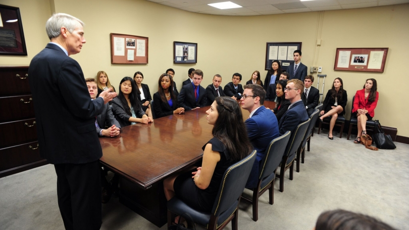 Students with U.S. Senator Rob Portman '78